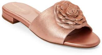 Taryn Rose Rose Gold Violet Metallic Slide Sandals