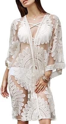Fanvans Women s Loose Lace Bikini Smock 3 4 Sleeve See-through Cardigan fbb207692