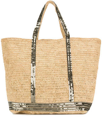Vanessa Bruno sequin trim shopper tote