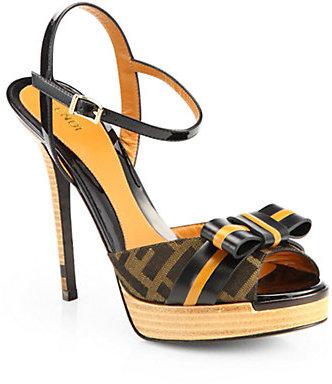 Fendi Jacquard Canvas & Leather Bow Sandals