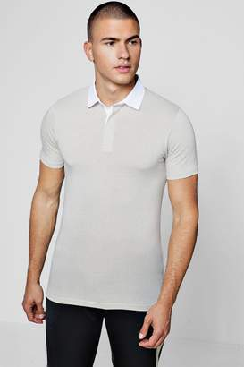 boohoo Muscle Fit Rugby Polo