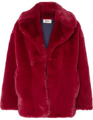 Diane von Furstenberg Faux Fur Jacket - Crimson