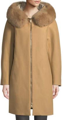 Herno Long Wool Coat w/ Fur-Trim Hood