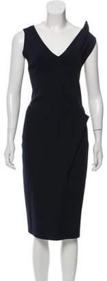 Oscar de la Renta V-Neck Sleeveless Dress Navy V-Neck Sleeveless Dress