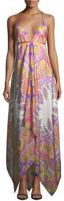 Etro V-Neck Sleeveless Paisley Printed Maxi Dress with Ribbon Ties