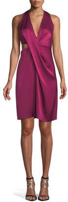 Halston Satin Halter Dress w/ Side Cutout