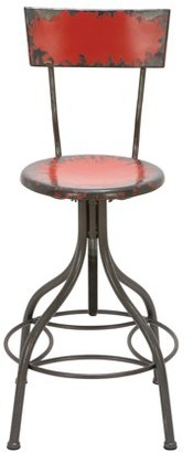 DecMode Decmode 41 Inch Rustic Distressed Red Iron Bar Chair, Red