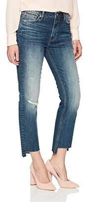 Denim Bloom Women's High Rise Stretch Fabric with High Low Hem Crop Jean 26Wx28L