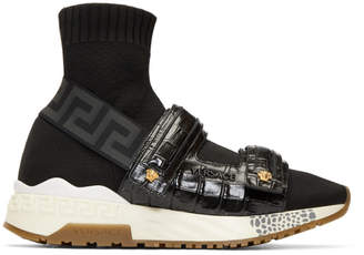 Versace Black Croc Medusa Sock High-Top Sneakers