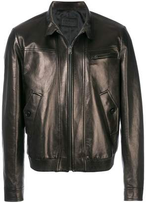 Prada high collared leather jacket