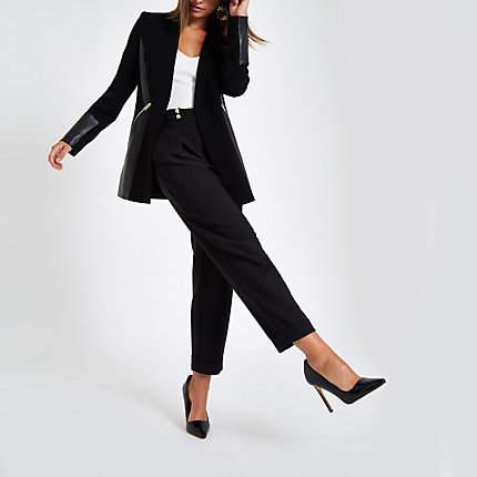 Womens Black block faux leather lining jacket
