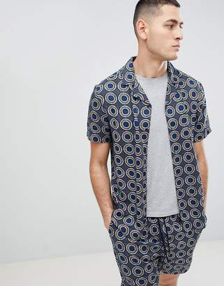 Another Influence Two-Piece Geometric Print Revere Collar Short Sleeve Shirt