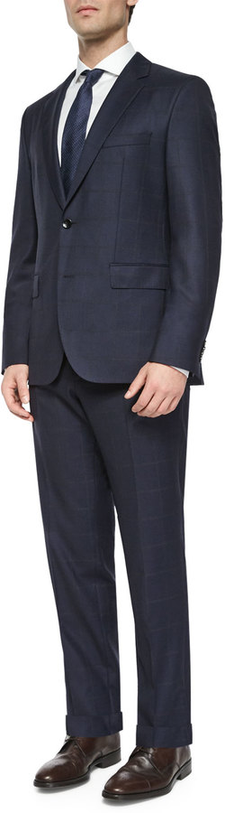 Hugo BossBoss Hugo Boss Windowpane Two-Piece Wool Suit, Navy/Gray