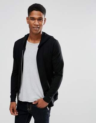 Asos Lightweight Muscle Zip Up Hoodie In Black