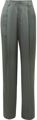Joseph Silk-satin Wide-leg Pants - Dark green