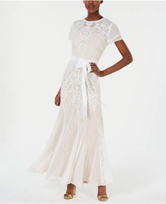 R & M Richards Sequined-Lattice Godet Gown