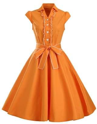 APXPF Women's 1950s Cap Sleeve Swing Rockabilly Retro Vintage Party Dresses