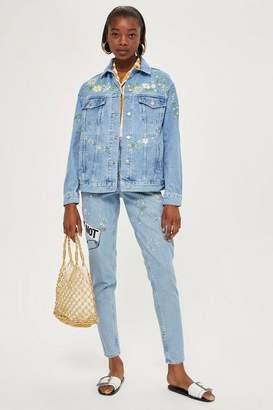 Topshop Moto bleach 'love me' mom jeans
