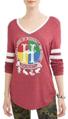 Juniors' Licensed Graphic Varsity Stripe Long Sleeve V-Neck T-Shirt