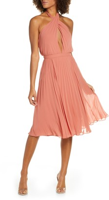 Ali & Jay Soho House Pleated Chiffon Halter Dress