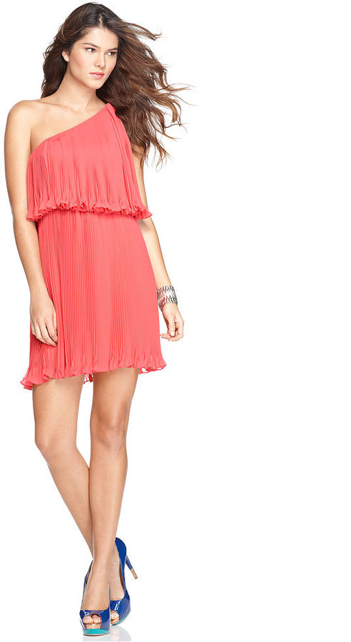 BCBGeneration Dress, Sleeveless One Shoulder Pleated Ruffle Tiered A Line