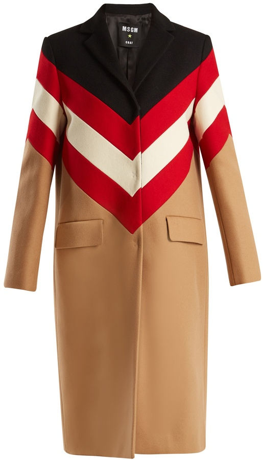 MSGM Notch-lapel chevron-striped wool coat