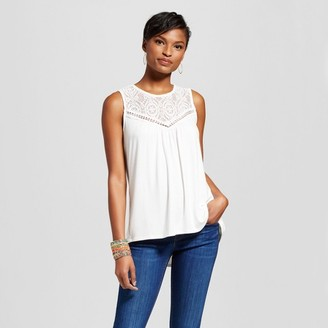 Notations Women's Knit Tank with Lace Illusion Yoke $24.99 thestylecure.com