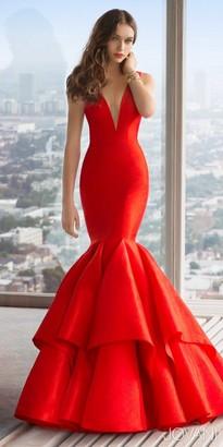Jovani V-Neck Taffeta Mermaid Prom Dress $590 thestylecure.com