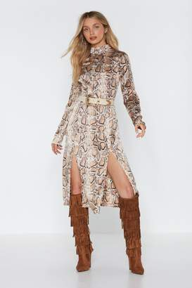 Nasty Gal Womens Snake The High Road Midi Slit Dress - Beige - 6
