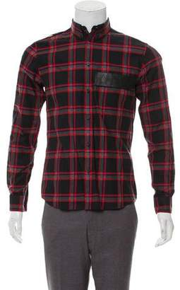 Givenchy Leather-Accented Plaid Shirt w/ Tags