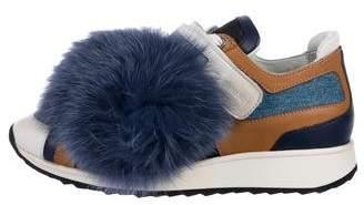 Pierre Hardy Leather-Trimmed Denim Sneakers
