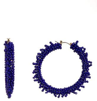 Suzanna Dai Beaded Accent 50mm Hoop Earrings