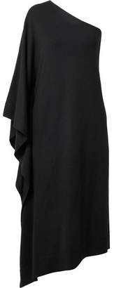 Michael Kors One-shoulder Asymmetric Cashmere Dress - Black