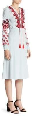 Altuzarra Hidalgo Embroidered Lace-Up Dress
