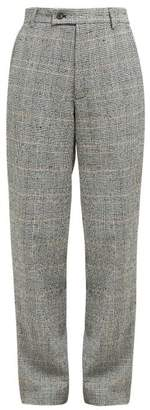 Aries Prince Of Wales Check Cotton Blend Boucle Trousers - Womens - Grey