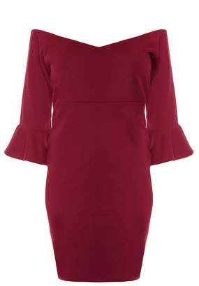 Quiz Curve Wine Bardot Sleeve Bardot Midi Dress
