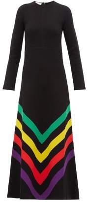 Gucci Chevron Striped Silk Blend Jersey Gown - Womens - Black Multi