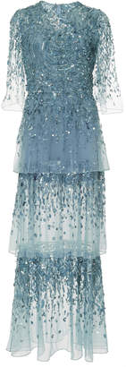 Elie Saab Tiered Embellished Tulle Gown
