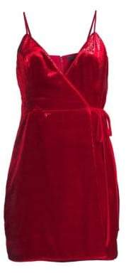 BCBGMAXAZRIA Women's Shimmer Velvet Minidress - New Red - Size 4