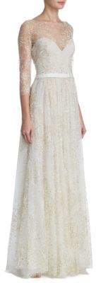 Marchesa Notte Glitter Tulle Floor-Length Gown