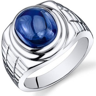 Oravo 8.00 Carat T.G.W. Men's Created Blue Sapphire Rhodium-Plated Sterling Silver Engagement Ring