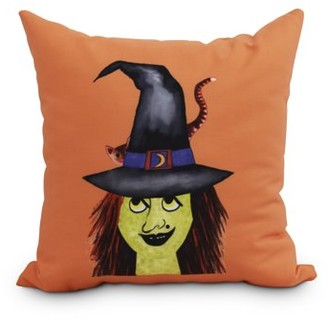 Simply Daisy Witches Hat 20 Inch Orange Halloween Print Decorative Throw Pillow