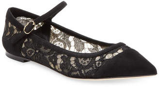 Dolce & Gabbana Suede & Lace Ankle Strap Ballet Flat