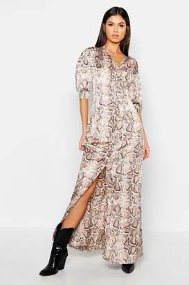 boohoo Button Through Snake Print Maxi Dress