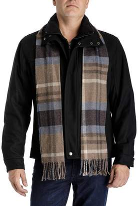 London Fog Towne By Men's Towne Wool-Blend Hipster Jacket With Plaid Scarf