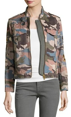 Zadig & Voltaire Kavy Embroidered Camo Utility Jacket, Multicolor $398 thestylecure.com