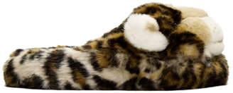 Dolce & Gabbana Brown Faux-Fur Leopard Slippers