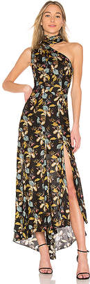 Nicholas Ava Floral Tie Neck Maxi Dress
