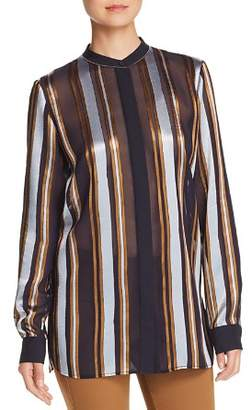 Lafayette 148 New York Brayden Sheer Striped Blouse