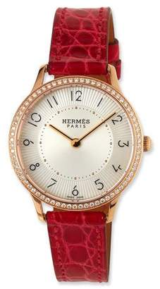 Hermes Slim d'Hermès Watch with Diamonds & Red Alligator Strap